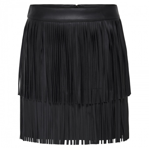 ONLINDIE FAUX LEATHER FRINGE SKIRT